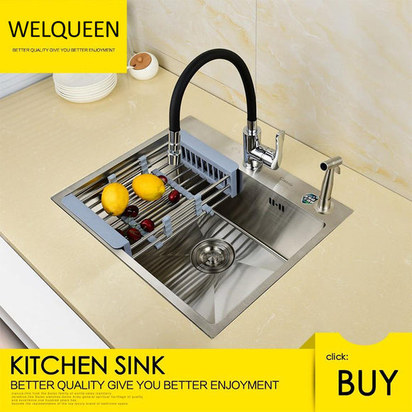 Free Shipping Stainless Steel Brushed Nickel Under Mounted Hand Make Single Bowl Kitchen Sink With Faucet For Kitchen - WELQUEEN