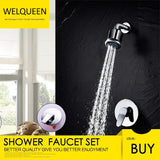 Free Shipping Shower Faucet Set with Shower Arm and 5 Spray Shower Head Brass Shower Trim Kit with Universal Rough-In Valve - WELQUEEN