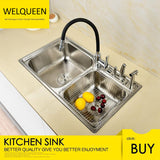 Free Shipping Stainless Steel Brushed Nickel Under Mount Double Bowl Kitchen Sink With Faucet and Knife Holder For Kitchen - WELQUEEN