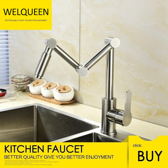 Free Shipping Stainless Steel Brushed Nickel 360 Degree Rotating Kitchen Faucet Cold and Hot Water Mixer Deck Mounted Tap - WELQUEEN