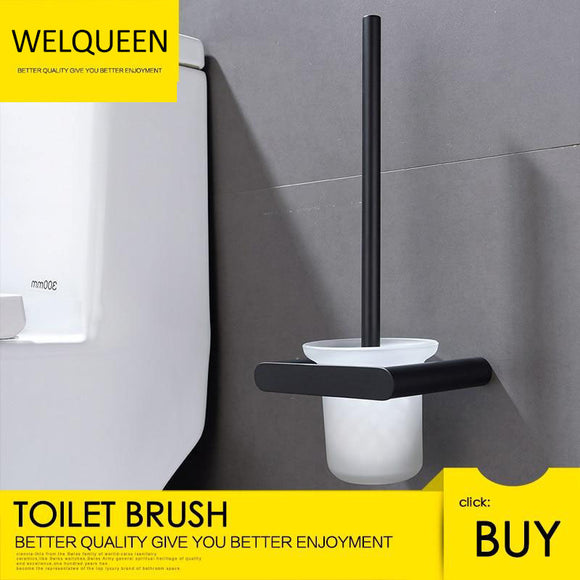 Free Shipping Wall Mounted Drilling Black Toilet Brush Holder With The Toilet Brush Bathroom Accessories - WELQUEEN