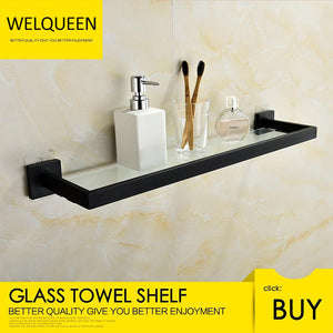 Free Shipping SUS304 Stainless Steel Seamless Self Adhesive Black Chrome Glass Towel Shelf Towel Hanger Bathroom Accessory - WELQUEEN