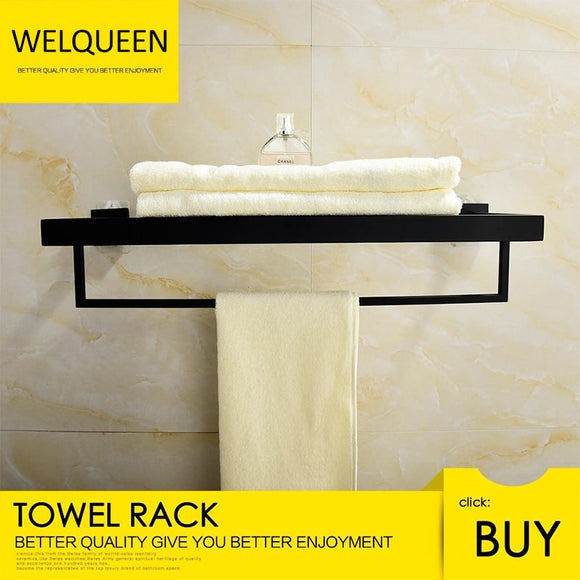 Free Shipping SUS304 Stainless Steel Seamless Self Adhesive Black Chrome Towel Rack With Bar Towel Hanger Bathroom Accessory - WELQUEEN