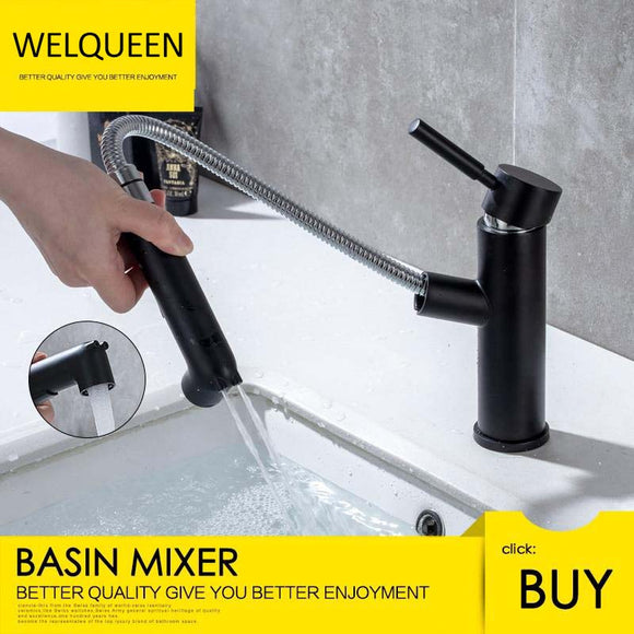 Free Shipping Brass Basin Faucet Multi-functional Stretch Faucet Black Cold and Hot Water Washing Basin Sitting Pull Out Faucet - WELQUEEN