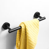 Matte Black Bathroom Hardware Set | Robe Hook Single Towel Bar Toilet Paper Holder - WELQUEEN