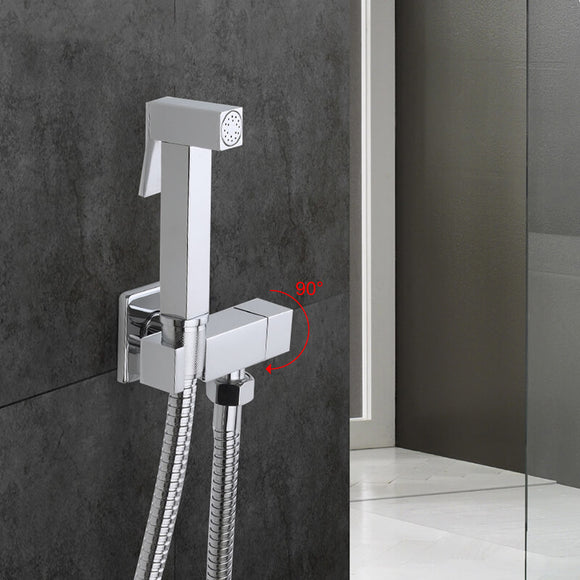 Solid Brass Single Cold Water Corner Valve Bidet Function square Hand Shower Head Tap Crane 90 Degree Switch - WELQUEEN