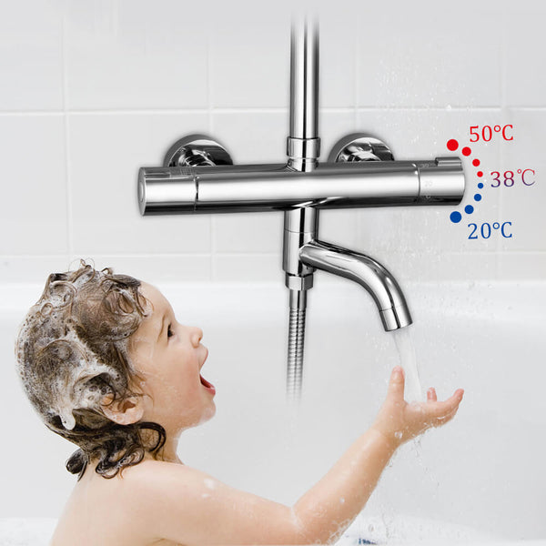 Thermostatic Shower Faucets Mixer Tap Hot And Cold Bathtub Faucet Bathroom Mixer  Wall Mounted Mixer Brass Control Rain - WELQUEEN