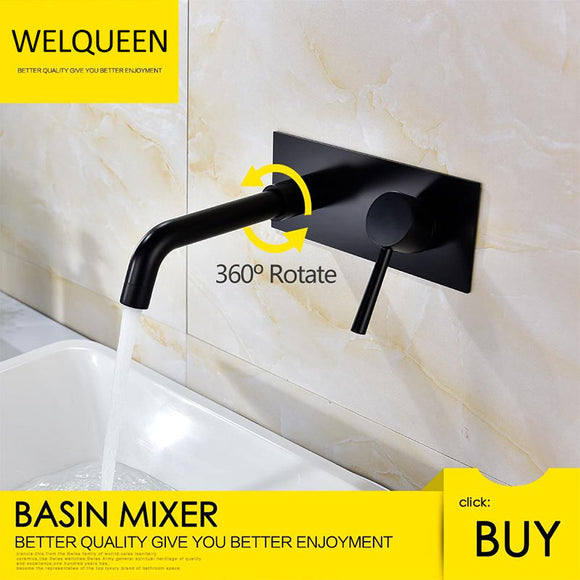 Wall Mount Bathroom Faucet Black Vessel Faucet 360 Degree Swivel Brass Basin Mixer Tap and Rough-in Valve Included - WELQUEEN