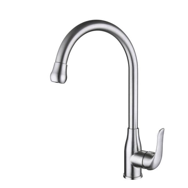 Stainless Steel Pull Out Kitchen Faucet | Single Handle Brushed Nickel Pull Out Goose Neck Kitchen Faucet | 360 Degree Swivel Single Lever Stainless Steel Kitchen Sink Faucet - WELQUEEN