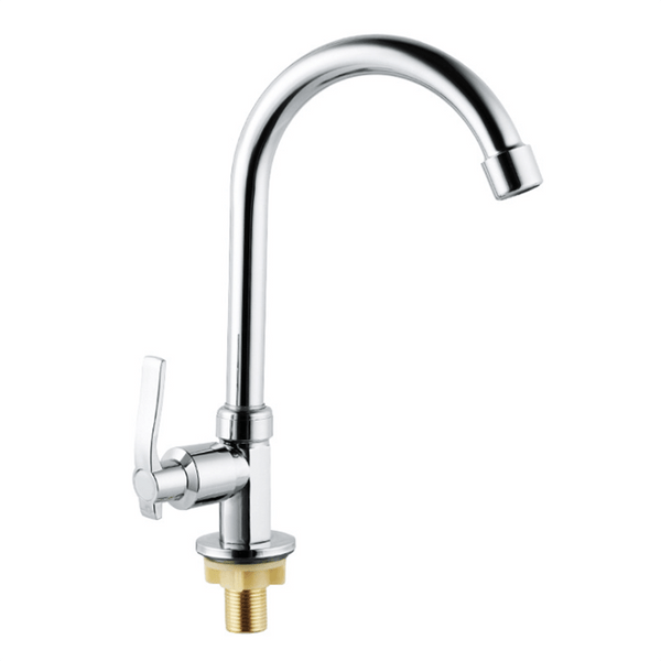 Brass Cold Water Kitchen Faucet | Commercial Tap Gooseneck Bar Faucet | Single Lever Chrome Top Rated Saving Water Taps - WELQUEEN