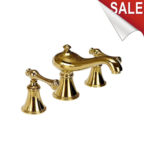 Hot Selling Widespread 2 Knobs Basin Faucet Deck Mounted | 3 Holes Sink Mixer Tap Gold Polished - WELQUEEN