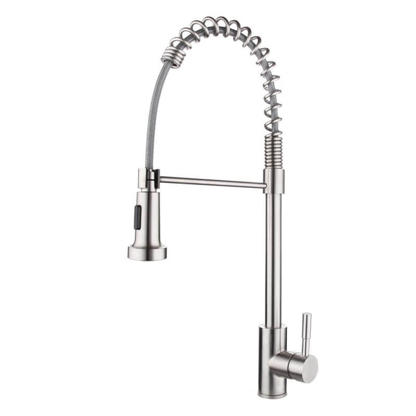 Pull Down Kitchen Faucet | Pre Rinse Pull Out Sprayer Single Handle Kitchen Faucet | Stainless Steel Spring Brushed Nickel Kitchen Mixer - WELQUEEN