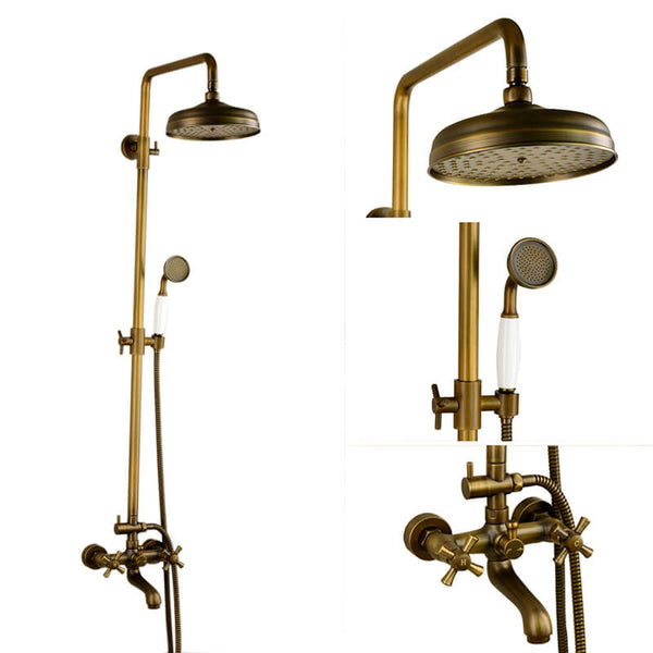 Antique Copper Shower Faucet | Luxury Bathroom Shower Faucet Set 8-inch Round Rainfall Shower Head + Hand Spray + Tub Tap - WELQUEEN