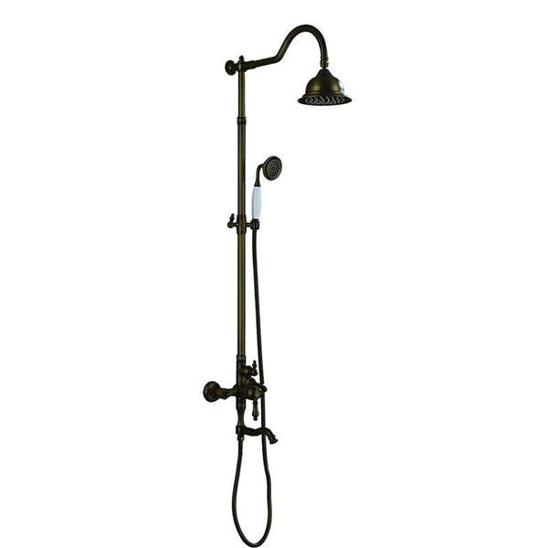 Wall Mounted Antique European Shower Column Set | Brass Lifting Shower Set | Bathroom Shower Column Set - WELQUEEN
