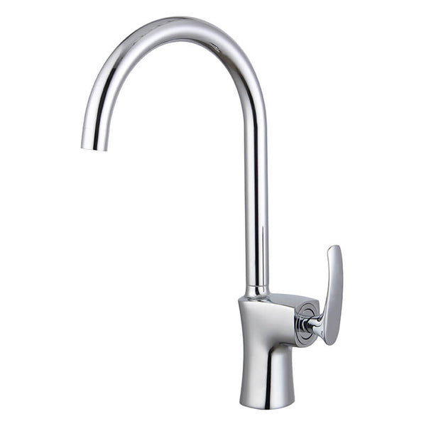 High Arc Solid Brass Kitchen Faucet | Single Hole Kitchen Faucet In Chrome Plating | 360 Degree Swivel Single Lever Kitchen Sink Faucet - WELQUEEN