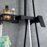 Black Shower Column Set | Bathroom Multifunction Shower Faucet | Brass Shower Mixer with Soap Dish Holder - WELQUEEN
