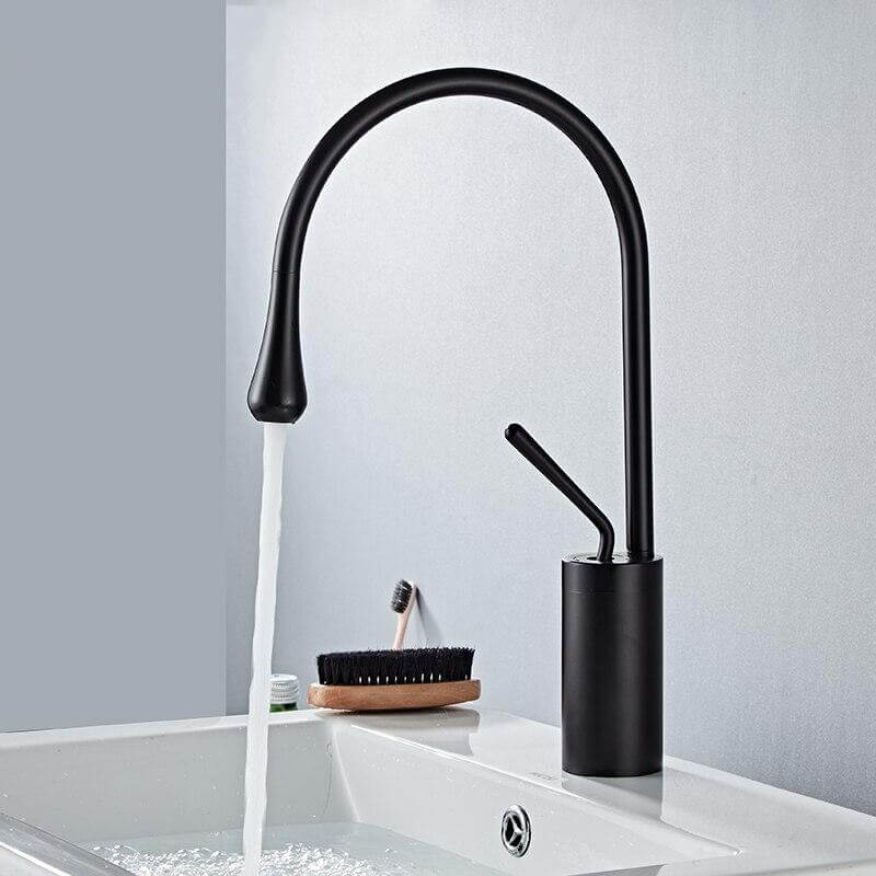 Basin Faucets Black Bathroom Faucet for Bathroom Basin Mixer Tall Taps Waterfall Mixer Single Hole Sink Faucet - WELQUEEN
