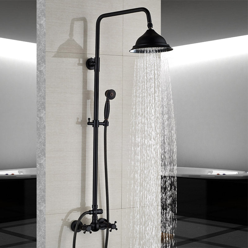 Bathroom Rainfall Shower Mixer Faucet Dual Handle Brass Black Shower Set Faucet Wall Mount Rainfall Shower Mixer Tap - WELQUEEN