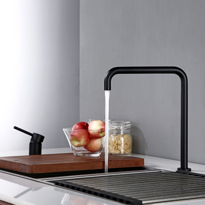 Modern Style Kitchen Sink Faucet Tap Dual Holder Single Handle Fixed Basin Faucet Hot And Cold 2 Hole Kitchen Sink Mixer Welqueen