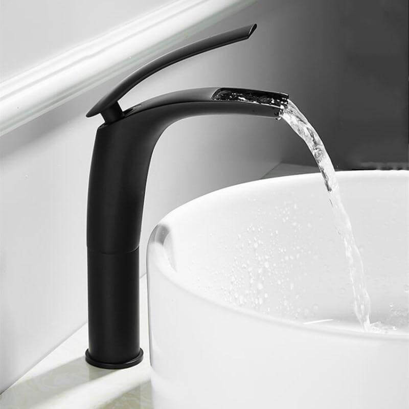 Bathroom Basin Faucet White and Black Baking Solid Brass Special Sink Mixer Tap Hot & Cold Waterfall Basin Faucet Free Shipping - WELQUEEN