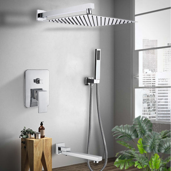 Wall Mount Rainfall Shower Faucet Set Chrome Bathroom Concealed Waterfall Shower System with Swivel tub Spout Mixer Tap - WELQUEEN