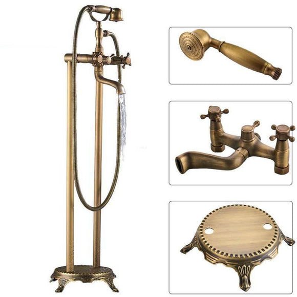 Antique Brass Floor Mounted Tub Sink Faucet Dual Handle Bathroom Bath Shower Set Freestanding Bathtub Mixer Tap with Handshower - WELQUEEN