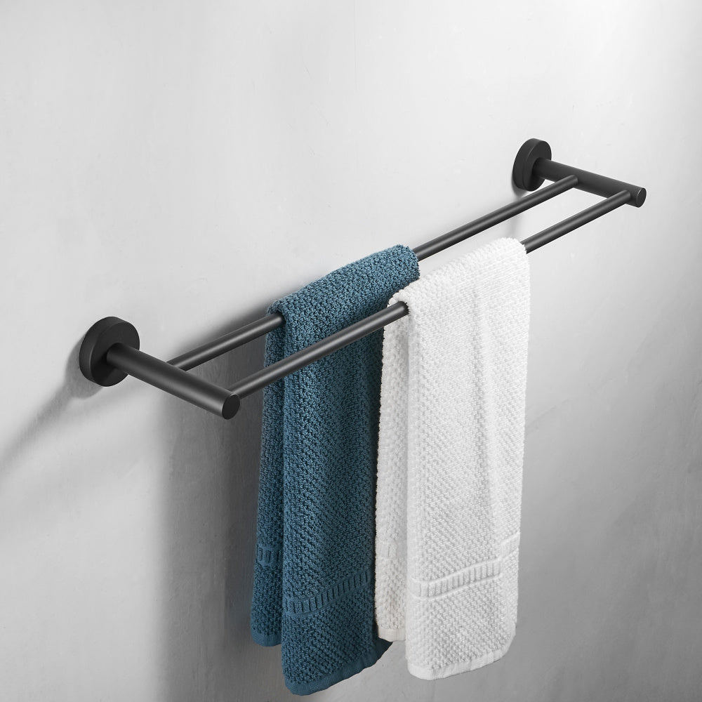 Black Double Arm Towel Holder 304 Stainless Steel Towel Bar Wall Mount Bathroom Towel Rack Hardware Accessory - WELQUEEN