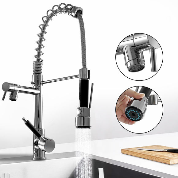 Kitchen Chrome Pull Out Side Spring Faucet Dual Spout Sprayer Single Handle Mixer Tap Sink Faucet 360 Rotation Deck Mounted - WELQUEEN
