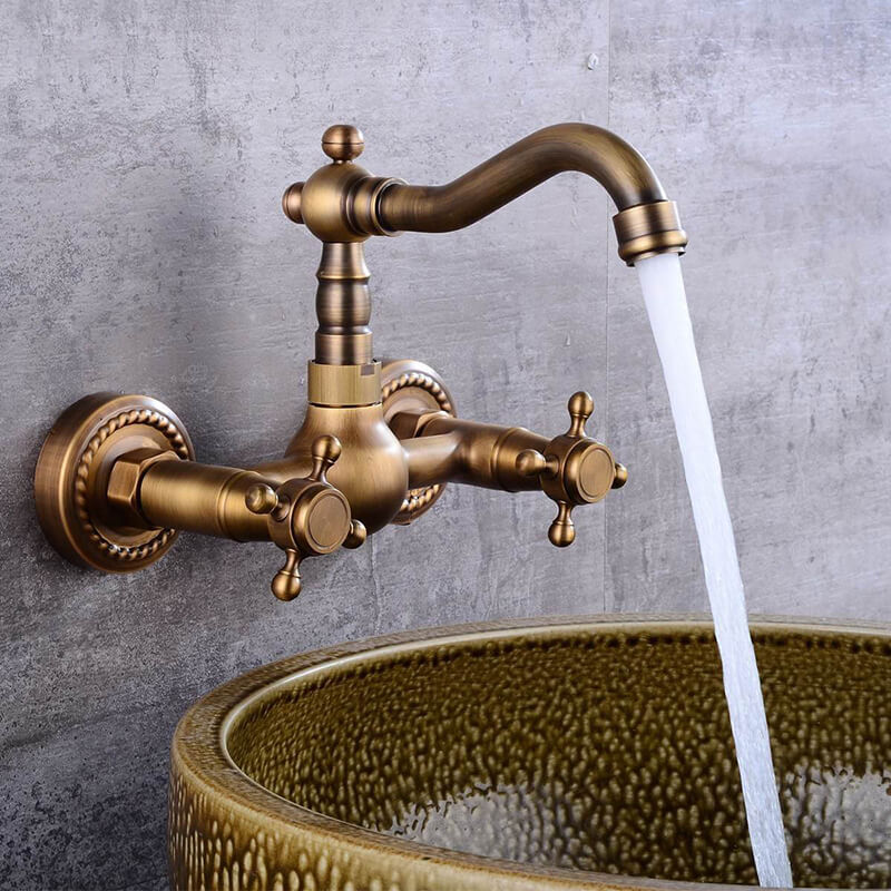 Antique Brass 360 Rotation Double Handle Kitchen Sink Faucet Wall Mounted Crane Bathroom Basin Cold And Hot Mixer Tap - WELQUEEN