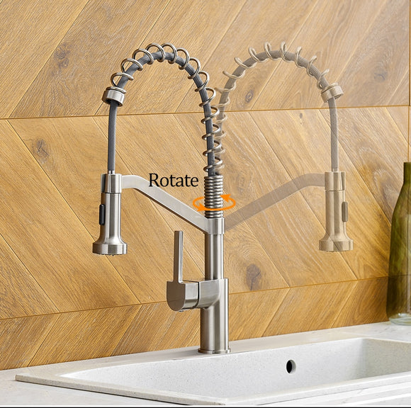 Modern Polished Chrome Brass Kitchen Sink Faucet Pull Out Single Handle Swivel Spout Vessel Sink Mixer Tap - WELQUEEN