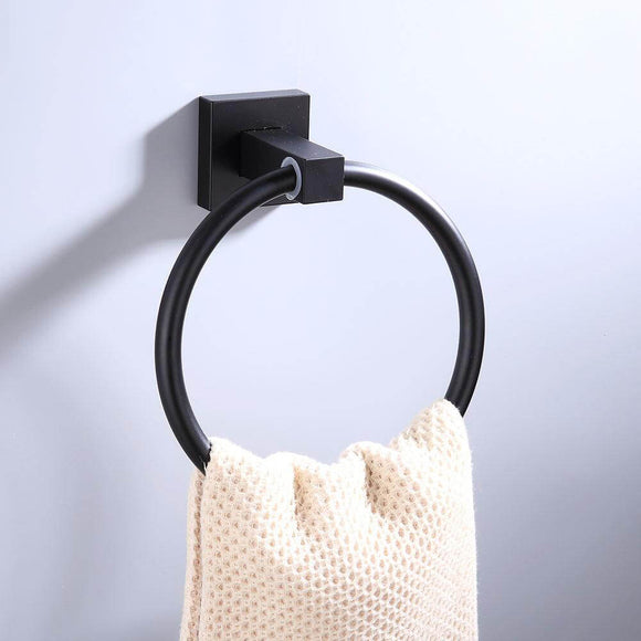 Aluminum Bathroom Accessories Black Towel Rack Towel Ring Hair Dryer Holder Wall Mounted Toilet Paper Holder Soap Basket - WELQUEEN