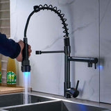 LED Light Deck Mounted Water Kitchen Faucet Black Bronze Spring Pull Down Dual Spray Spout Kitchen Mixer Tap - WELQUEEN