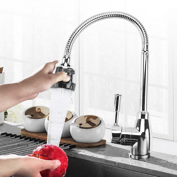 Kitchen 360Degree Rotatable Spout Single Handle Sink Basin Faucet Adjustable Solid Brass Pull Down Spray Mixer Tap Deck Mounted - WELQUEEN
