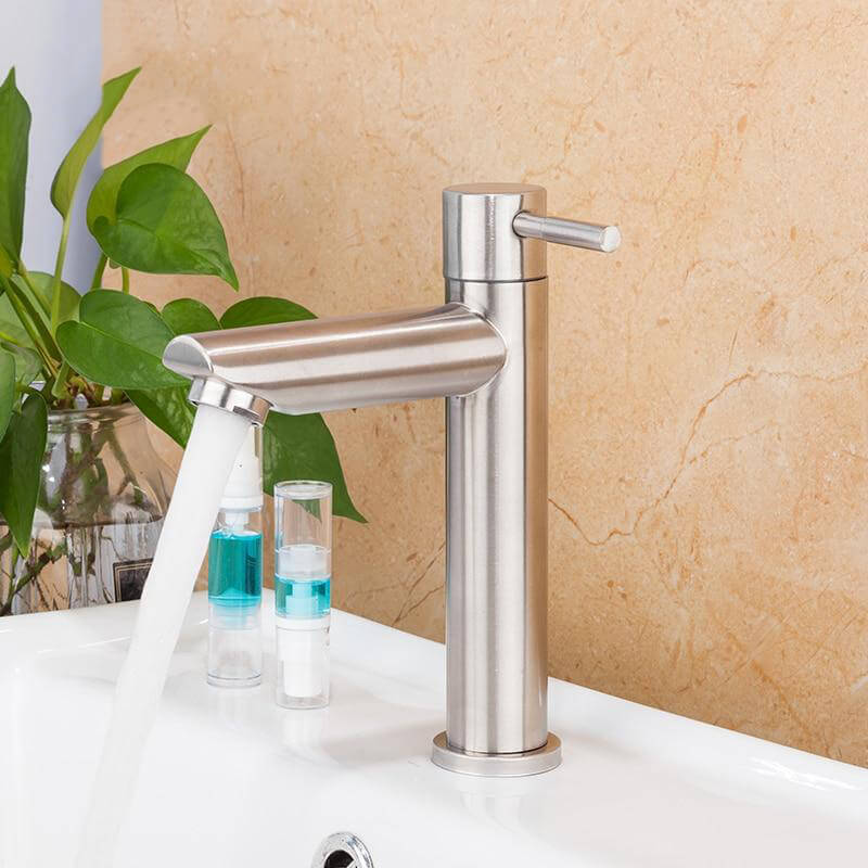 Basin Faucet Bathroom Sink Single Cold Water Tap Brushed Tap Water Faucet Bathroom Sink Faucet Tap Restroom - WELQUEEN