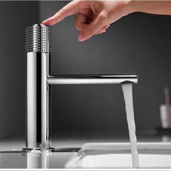 New Basin Faucets Chrome Brass Bathroom Sink Faucet Key Push-Button Style Brush Gold Hot and Cold Water Tap - WELQUEEN