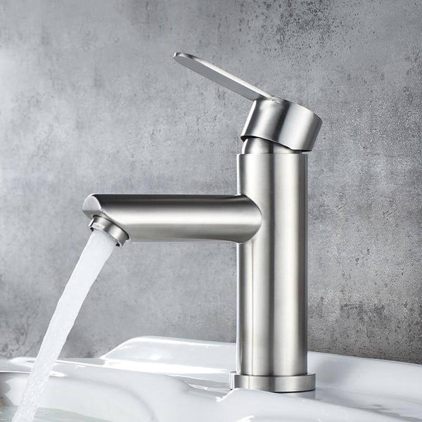 Basin Faucet Stainless Steel Faucet Bathroom Mixer Tap Single Hole Hot and Cold Water Classic Basin Faucets - WELQUEEN