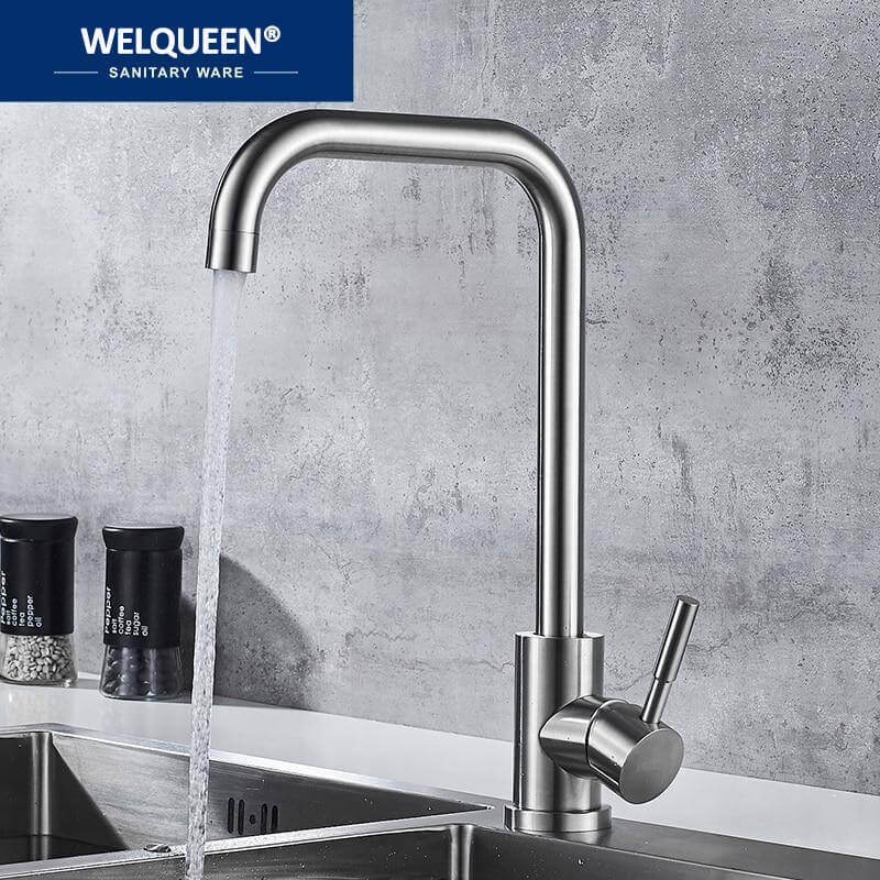Kitchen Faucet Stainless Steel Single Handle Single Hole Tap Brushed Kitchen Mixer Kitchen Faucets Taps - WELQUEEN