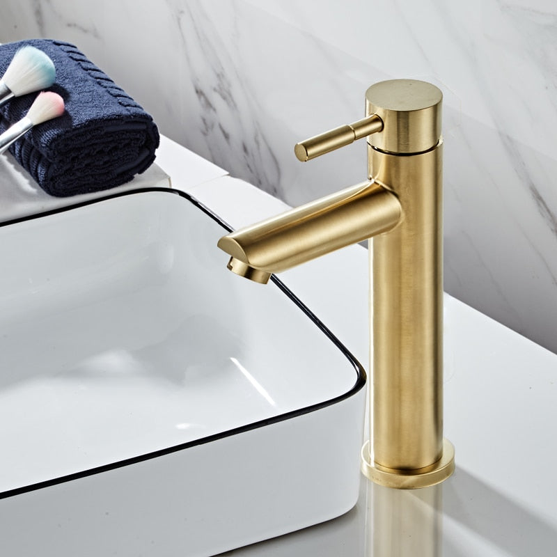 Bathroom Faucet Solid Brass Bathroom Basin Faucet Cold And Hot Water Mixer Sink Tap Single Handle Deck Mounted Brushed Gold Tap - WELQUEEN