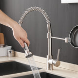 Kitchen Faucets Brush Brass Faucets for Kitchen Sink Single Lever Pull Out Spring Spout Mixers Tap Hot Cold Water Taps - WELQUEEN