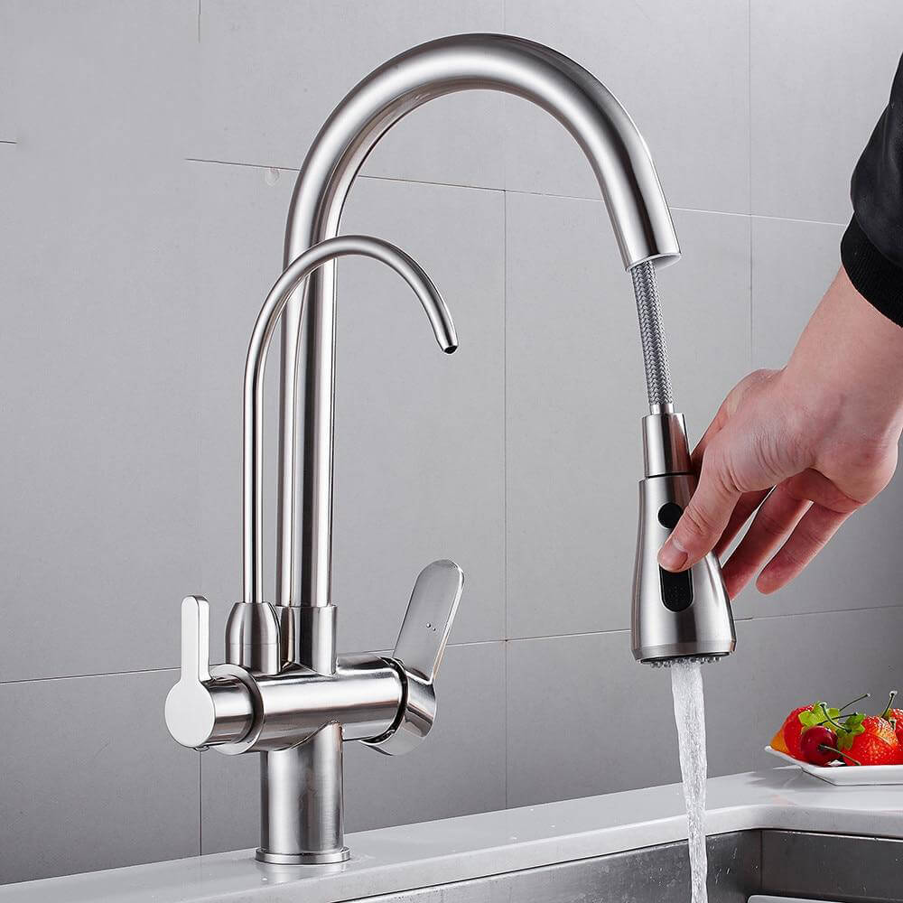 Pull Out Kitchen Faucets With Water Filter Tap Three Ways Brass Sink Mixer Kitchen Faucet Dual Handles - WELQUEEN
