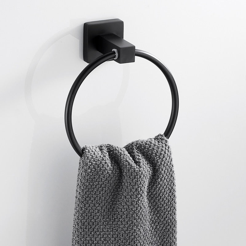 Black Towel Holder Ring | Round Wall Mounted Bathing Towel Rack Stainless Steel Kitchen Bathroom Accessories - WELQUEEN
