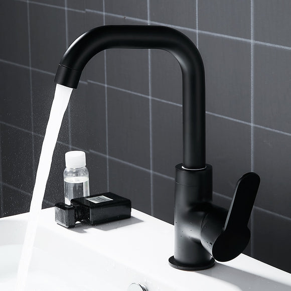 Bathroom Faucet Basin Mixer Black Sink Mixer Taps Kitchen Single Lever Faucet Sink Tap Water Kitchen Faucet Bathroom Accessories - WELQUEEN
