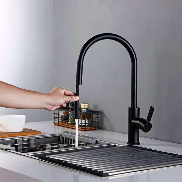 New Arrival Kitchen Faucet Swivel With Invisible Pull Out Nozzle Sprayer Gooseneck Pull Down Mixer Sink Tap in Matt Black - WELQUEEN