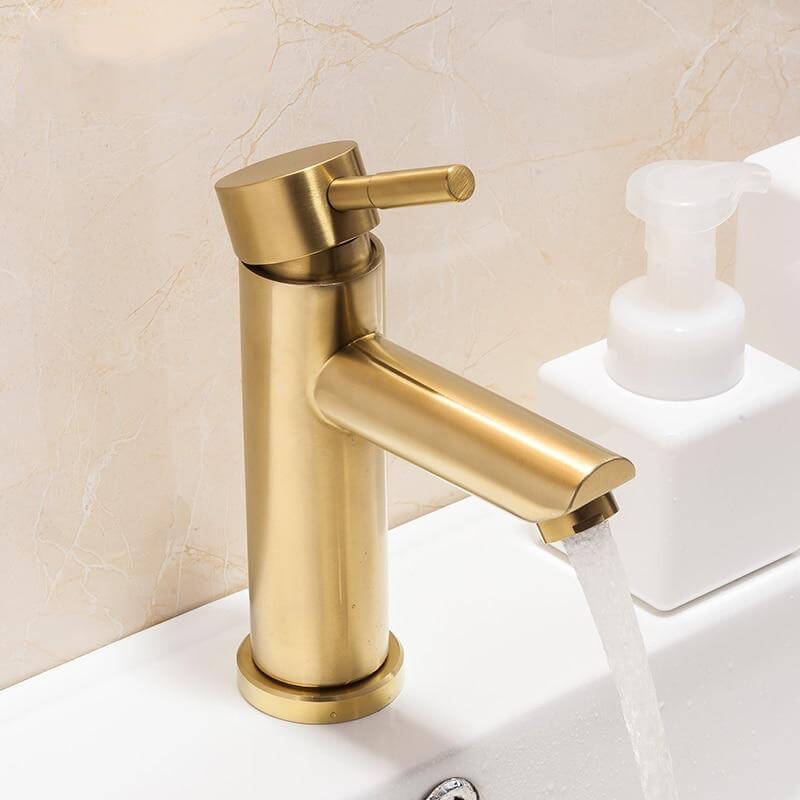 Basin Faucets Brushed Gold Bathroom Faucet Mixer Stainless Steel Waterfall Faucet Bathroom Faucet Basin Mixer - WELQUEEN