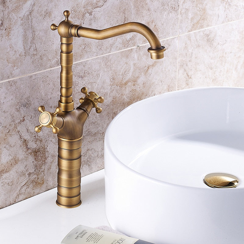 Antique Faucet Bronze Copper Double Handle Swivel Spout Bathroom Faucets Retro Style Brass Tall Basin Mixer Tap High Sink Crane - WELQUEEN