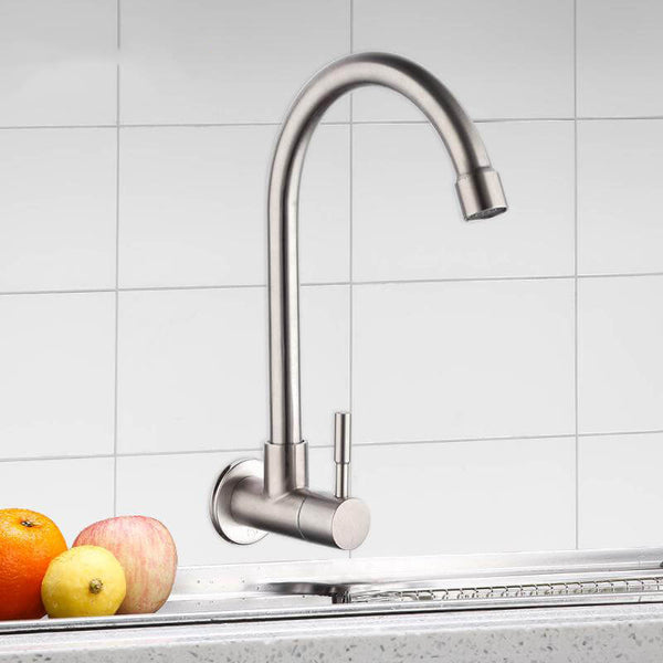 Kitchen Faucet Mixers Sink Tap Wall Mounted Single Cold Water Flexible 304 Stainless Steel Kitchen Tap Accessories - WELQUEEN