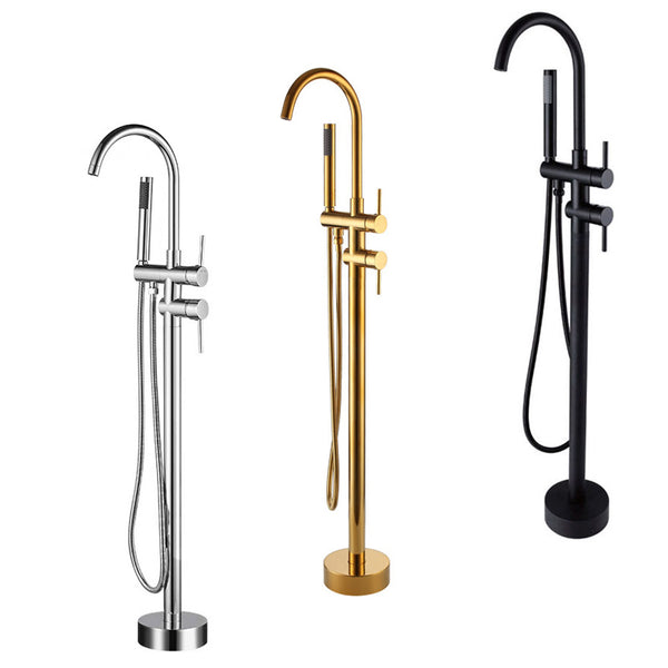 Brushed Gold Floor Stand Bathtub Faucet Black | Bathroom Freestanding Bathtub Faucet - WELQUEEN