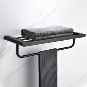 Matte Black Stainless Steel Modern Towel Bathrobe Clothes Holder Rack Double Layer Kitchen Bathroom WC Accessories - WELQUEEN