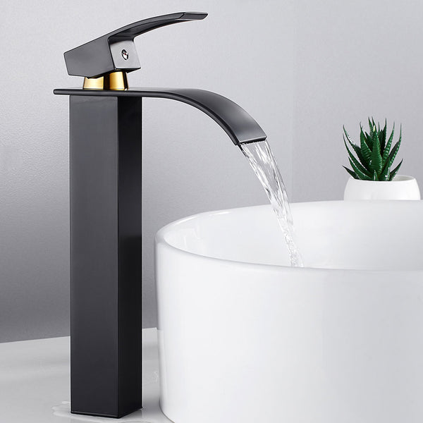 Bathroom Basin Faucet Deck Mount Waterfall Bathroom Faucet Vanity Vessel Sinks Mixer Tap Single Handle Cold And Hot Water Tap - WELQUEEN