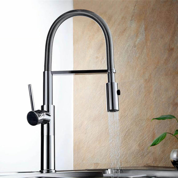 Kitchen Faucet Newly Design 360 Swivel Solid Brass Single Handle Mixer Sink Tap Chrome Hot and Cold Water Kitchen Faucet - WELQUEEN